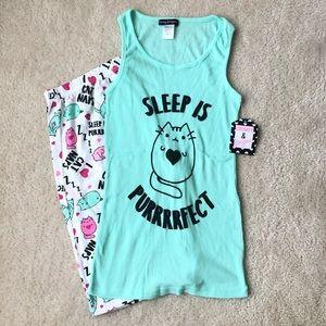 NWT Cat Print Pajama Set Sz L